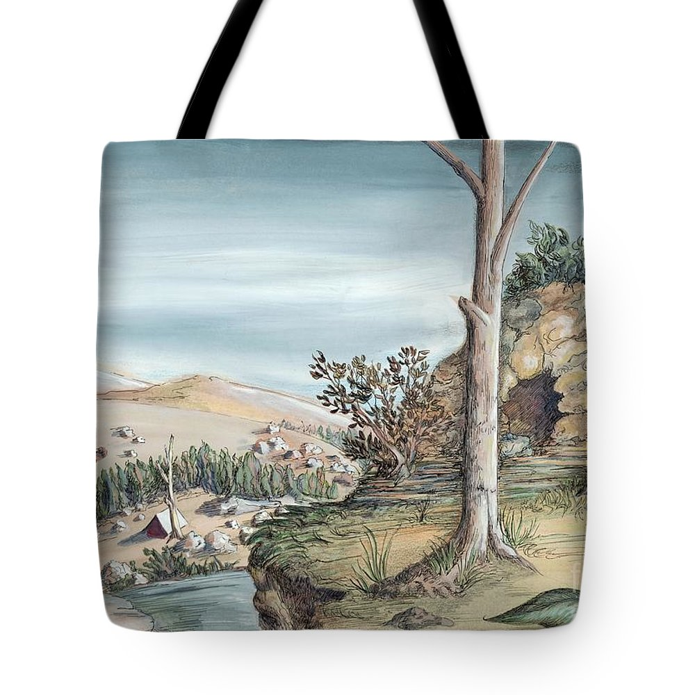 Nature Tote Bag featuring the painting Refuge by Lucy Stamatinos