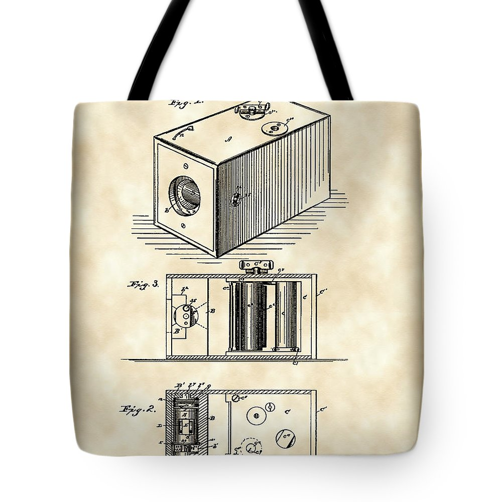 Camera Tote Bag featuring the digital art Roll Film Camera Patent 1888 - Vintage by Stephen Younts