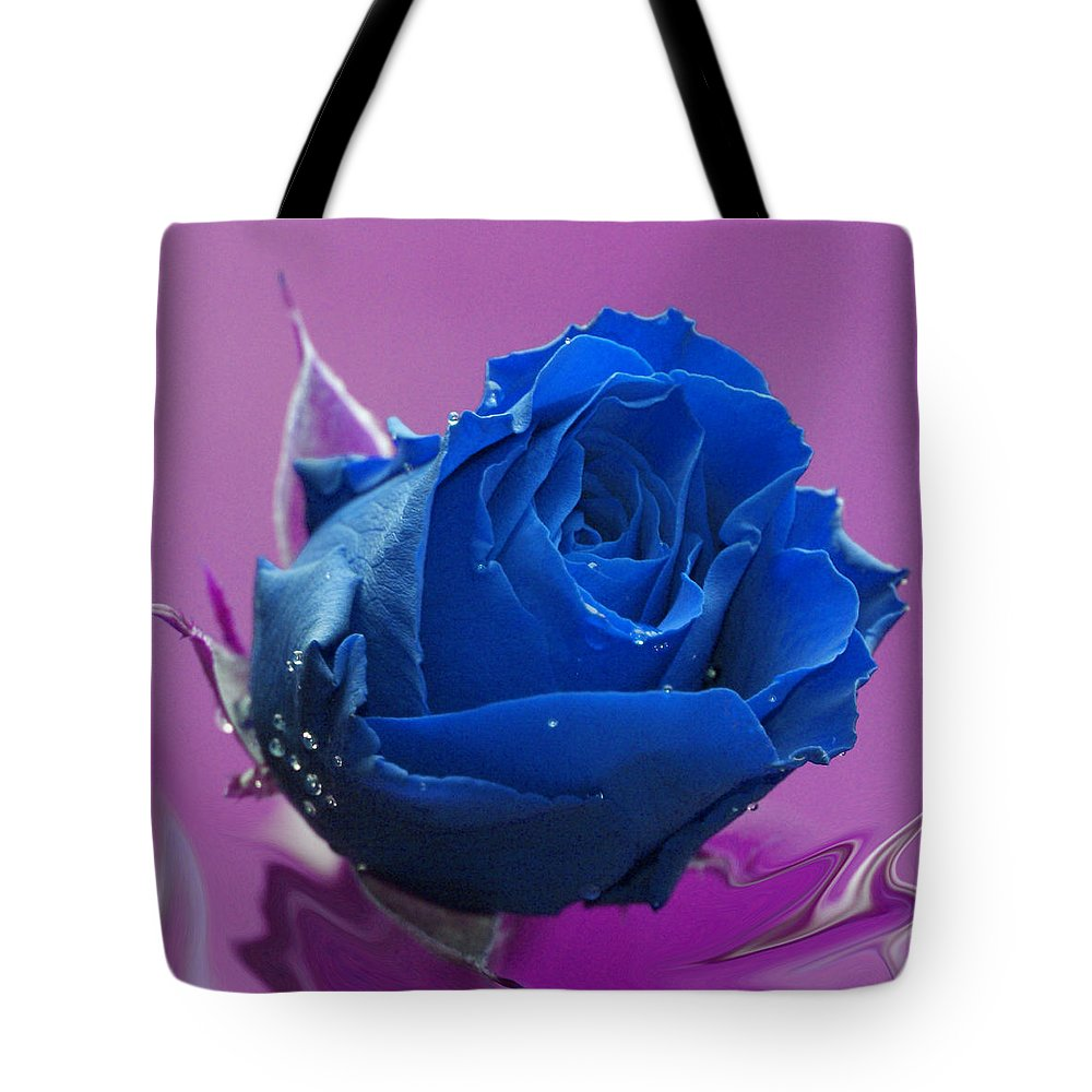 Blue Tote Bag featuring the digital art Rose by Carol Lynch