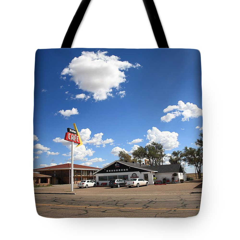 66 Tote Bag featuring the photograph Route 66 - Midpoint Cafe Adrian Texas by Frank Romeo