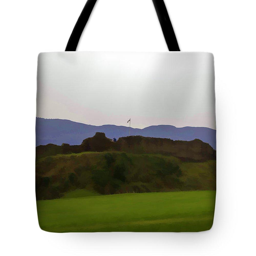 Blue Sky Tote Bag featuring the digital art Saltire And The Ruins Of The Urquhart Castle by Ashish Agarwal
