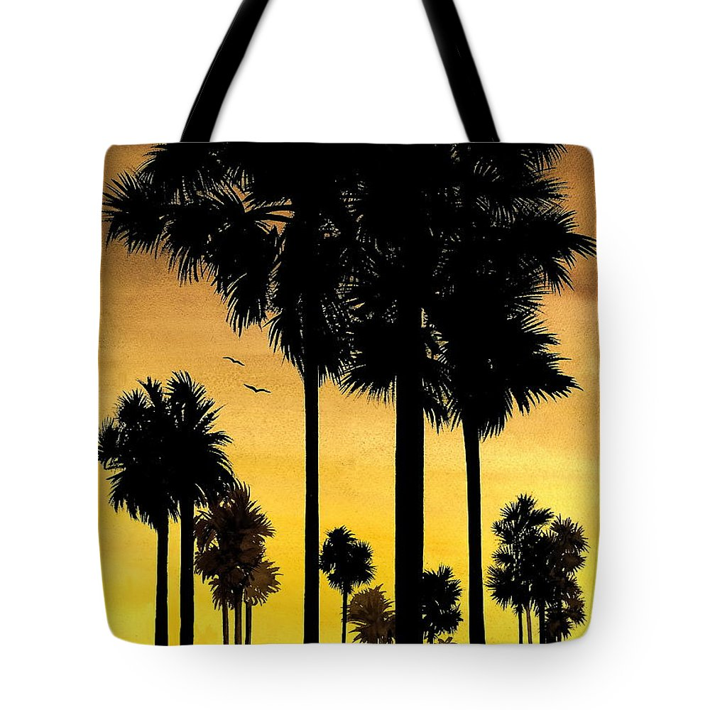 San Diego Sunset Tote Bag featuring the painting San Diego Sunset by Larry Lehman