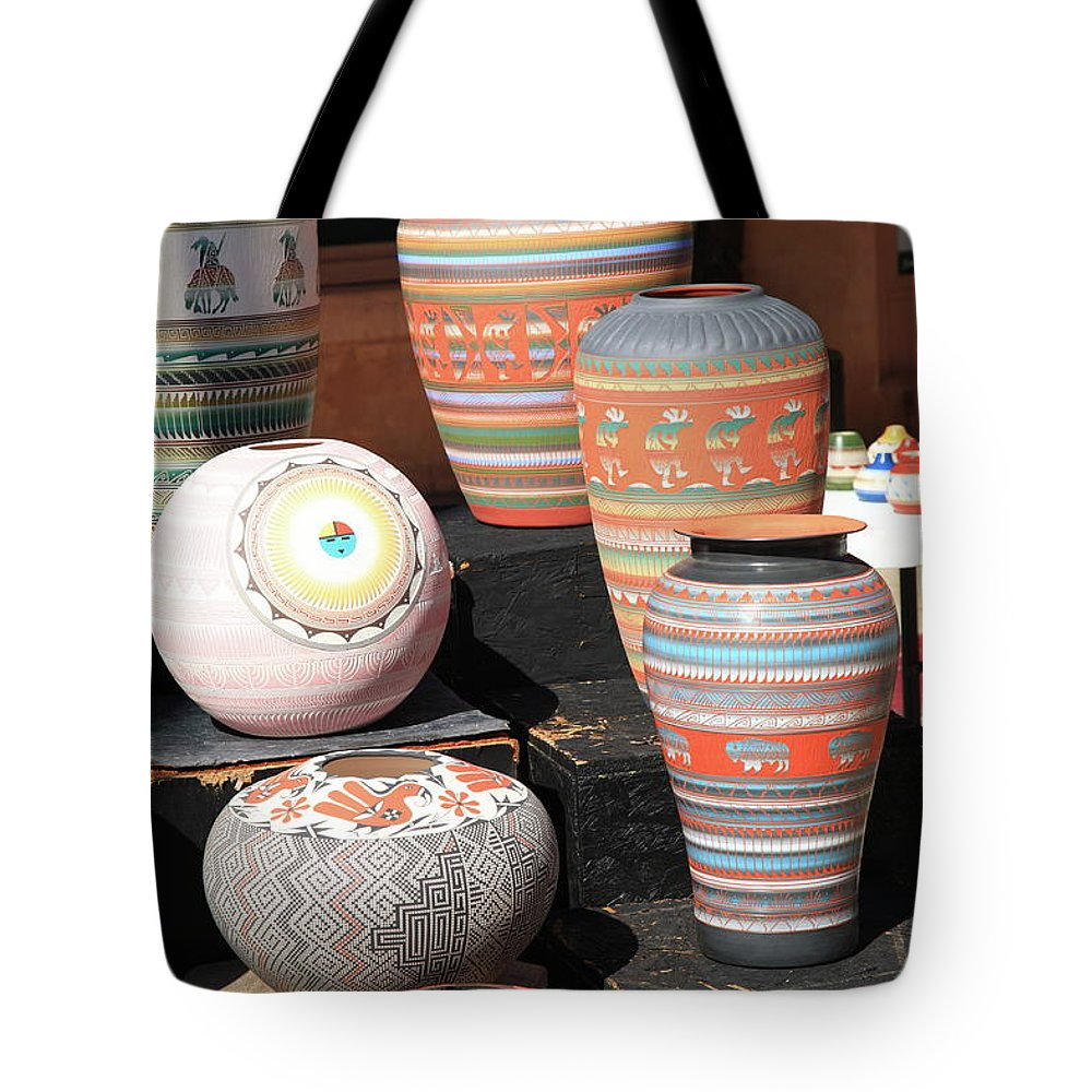 America Tote Bag featuring the photograph Santa Fe - Pottery by Frank Romeo