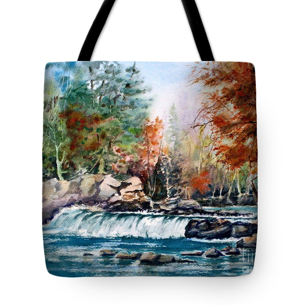 Autumn Tote Bag featuring the painting Scenic Falls by Mohamed Hirji