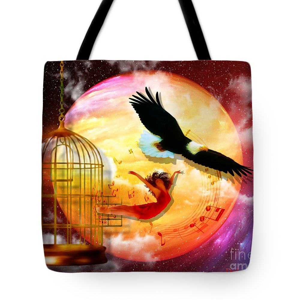 Eagle Cadge Freedom Isaiah 40:31 Tote Bag featuring the digital art Set Free by Dolores Develde