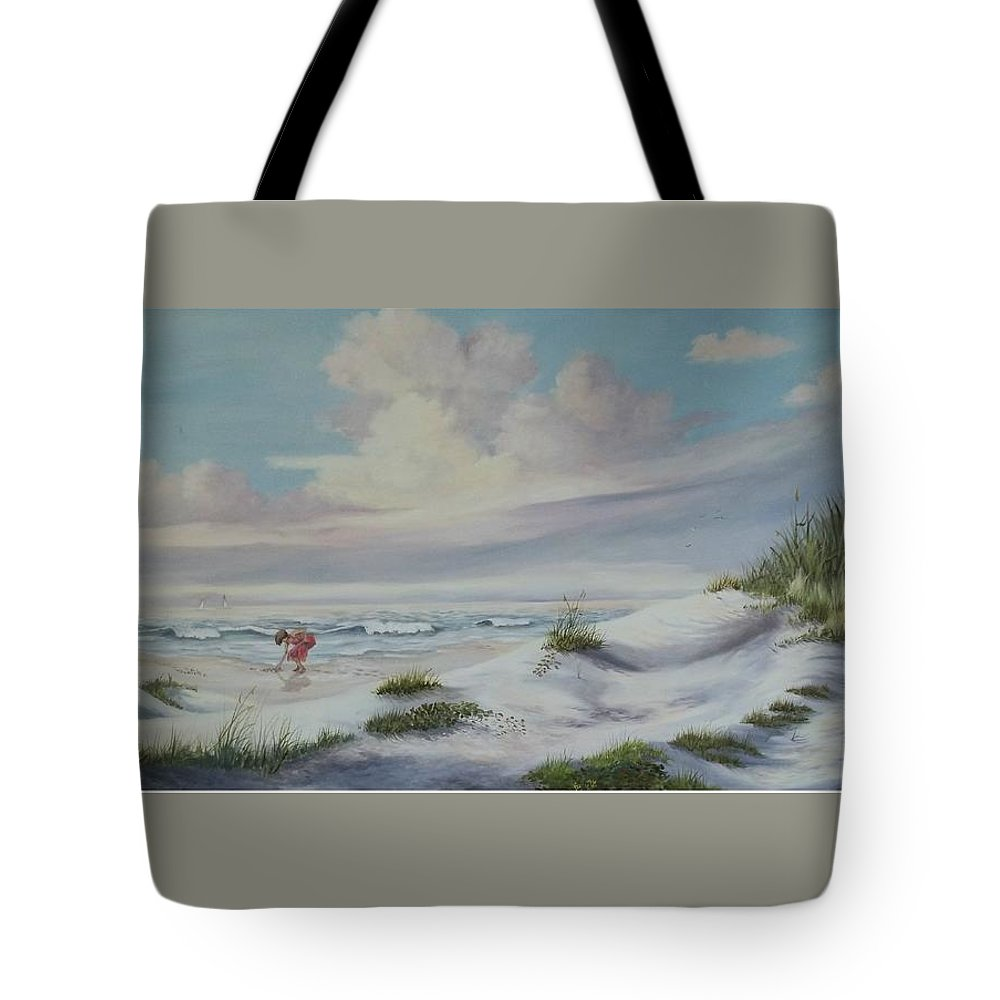 Landscape Tote Bag featuring the painting Shadows In The Sand Dunes by Wanda Dansereau