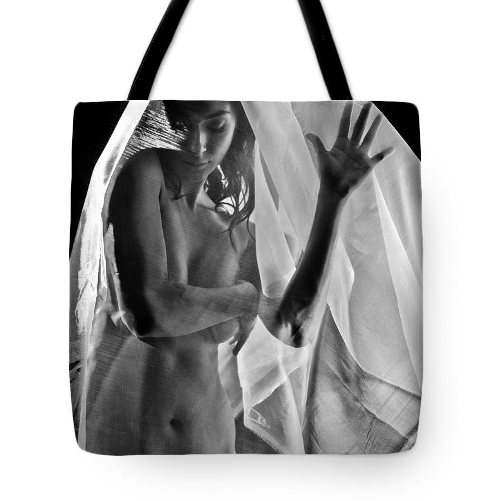 Position Tote Bag featuring the photograph Sheer Nude by Jt PhotoDesign