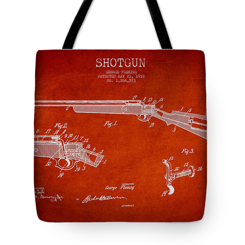 Shotgun Tote Bag featuring the digital art Shotgun Patent Drawing From 1918 by Aged Pixel