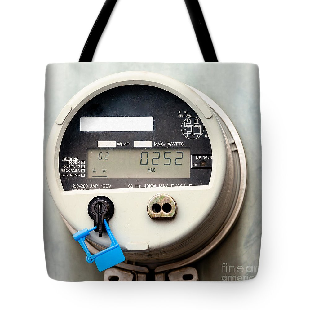 Amp Tote Bag featuring the photograph Smart Grid Residential Digital Power Supply Meter by Stephan Pietzko