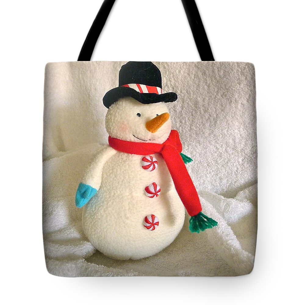 Snowman Tote Bag featuring the photograph Snowman by Denise Mazzocco