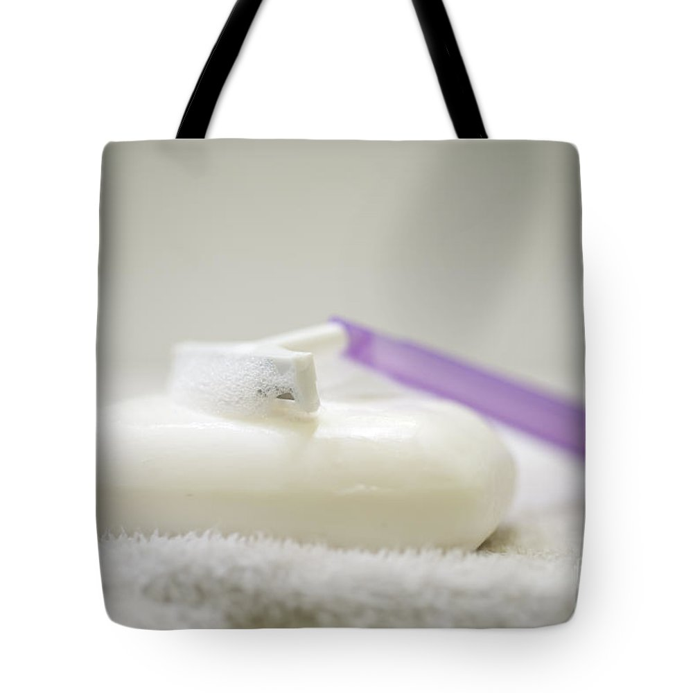 Soap Tote Bag featuring the photograph Soap And Razor by Mats Silvan