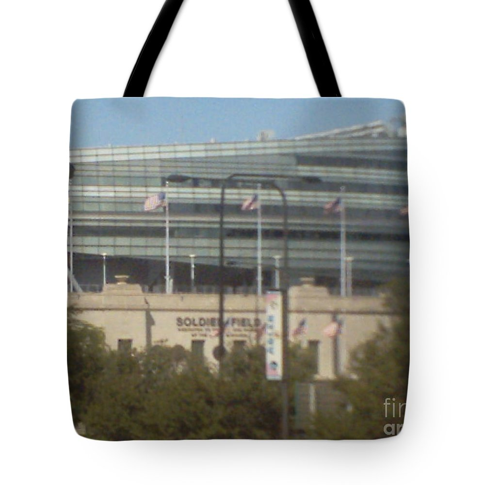 Soldier Field Tote Bag featuring the photograph Soldier Field by Alfie Martin