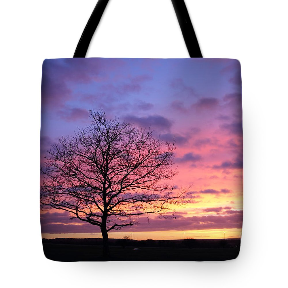 Spectacular Sunset Epsom Downs Surrey Uk Dusk Pink Sky Twilight Tree Silhouette Orange Sun Set Down English England Branches Lone Purple Blue Tote Bag featuring the photograph Spectacular Sunset Epsom Downs Surrey Uk by Julia Gavin