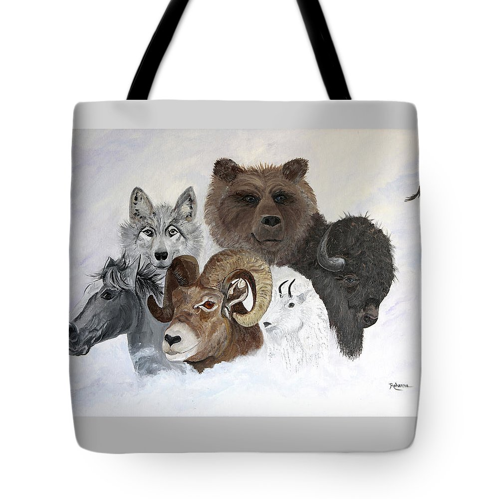 Horse Tote Bag featuring the painting Spirit Totems by Judy M Watts-Rohanna