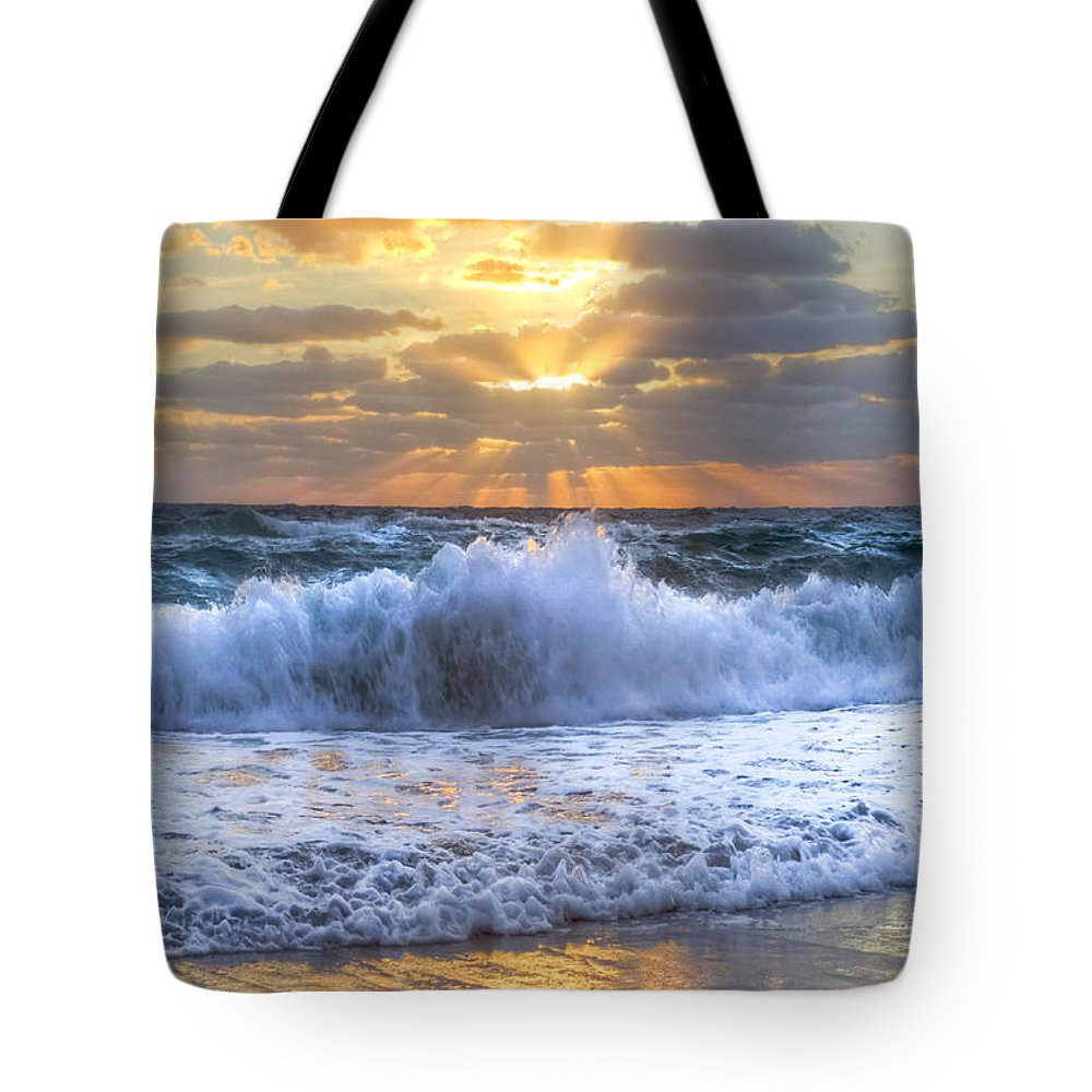 Boats Tote Bag featuring the photograph Splash Sunrise by Debra and Dave Vanderlaan