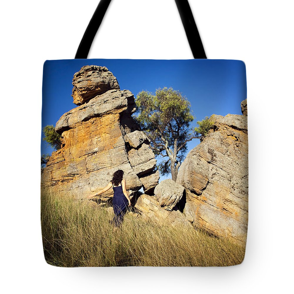 Australia Tote Bag featuring the photograph Split Rocks With Woman by Tim Hester