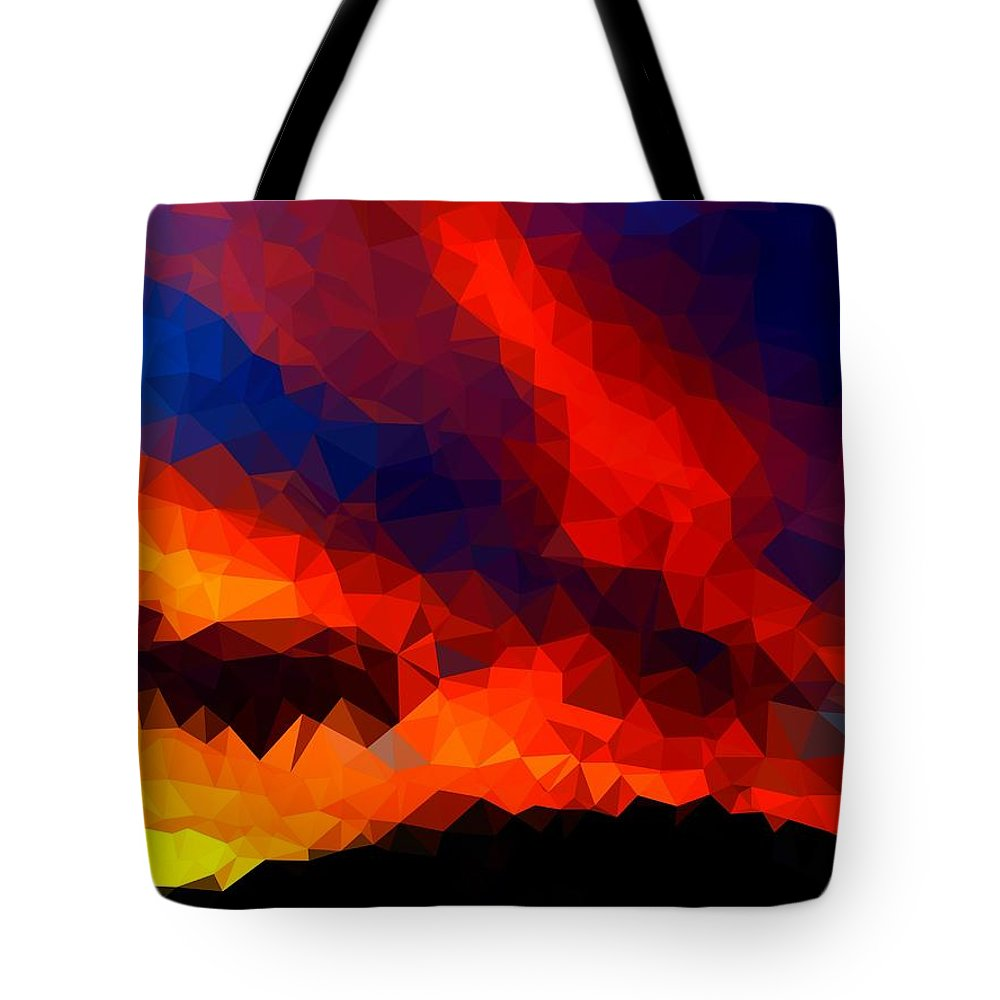 Sunset Tote Bag featuring the painting Stained Glass Sunset by Bruce Nutting