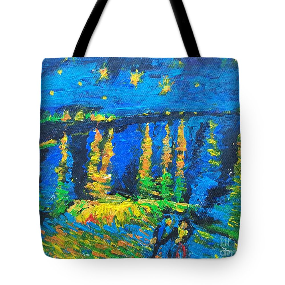 Starry Night Bridge Tote Bag featuring the painting Starry Night Bridge by Eric Schiabor