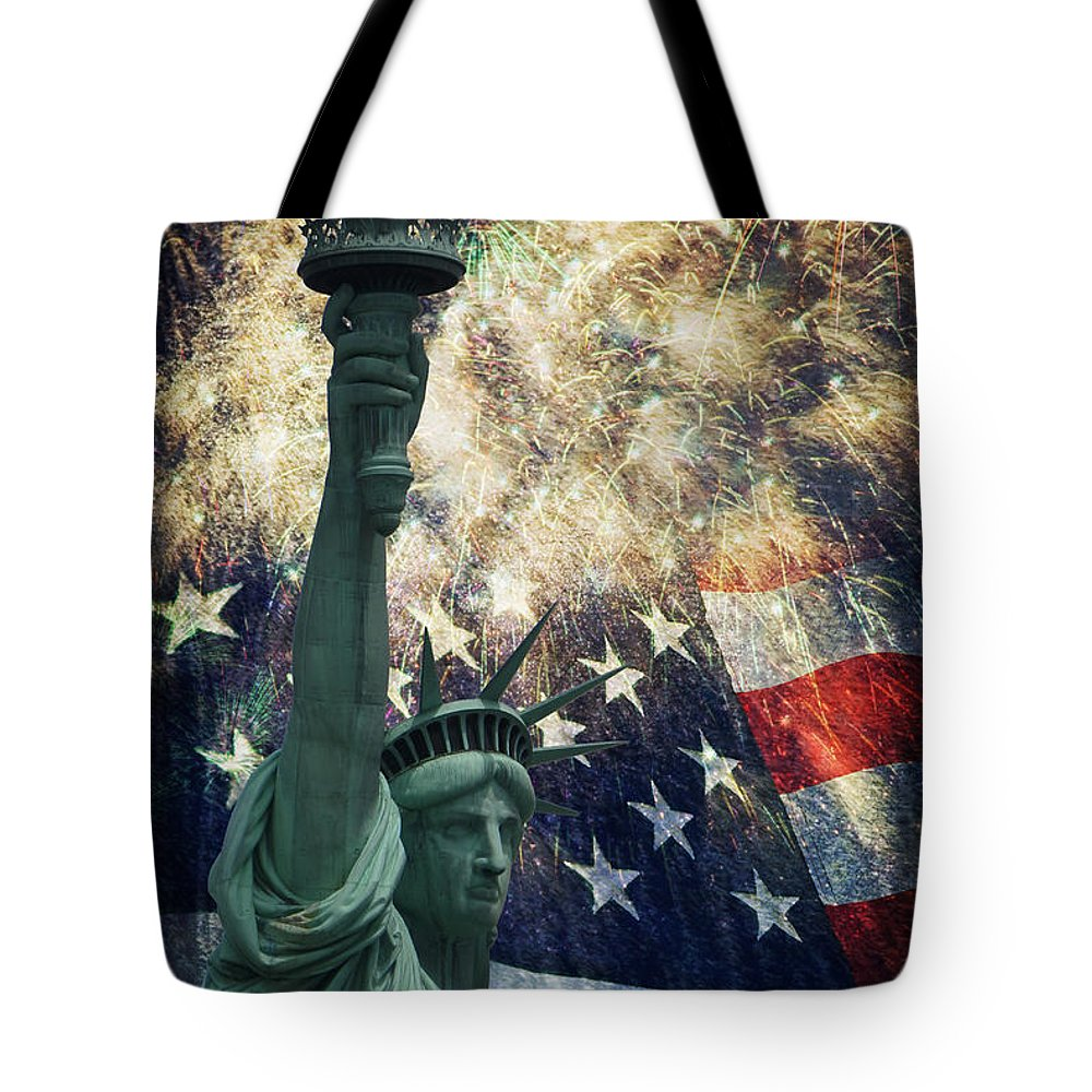 Statue Of Liberty Tote Bag featuring the photograph Statue Of Liberty And Fireworks by Michael Shake