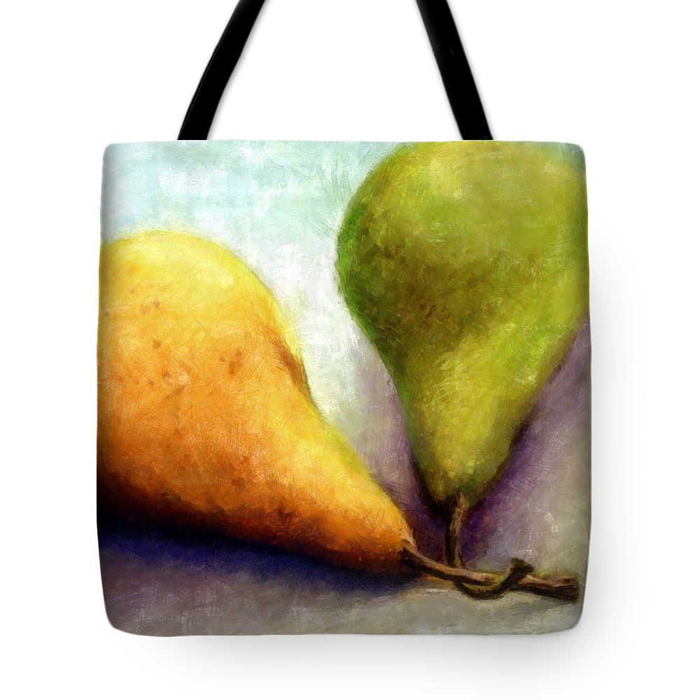 Pear Tote Bag featuring the digital art Stems by Michelle Calkins