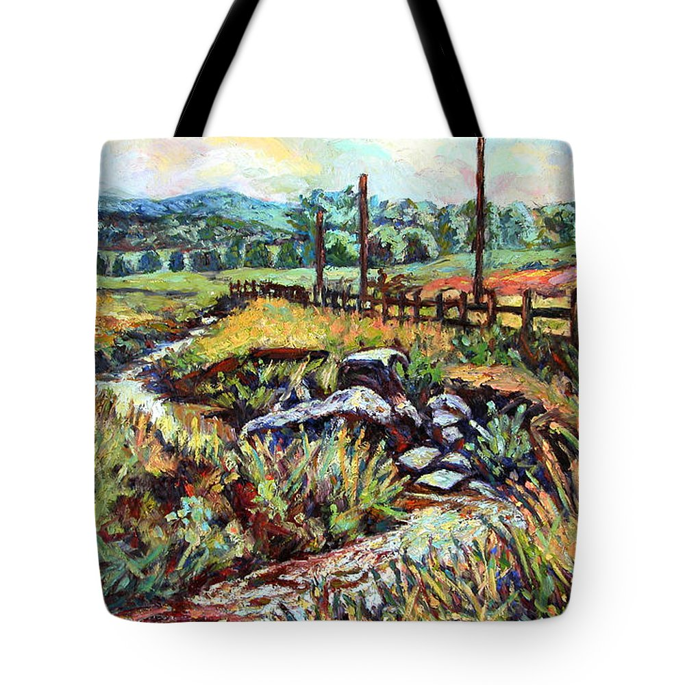 Landscape Paintings Tote Bag featuring the painting Stroubles Creek by Kendall Kessler