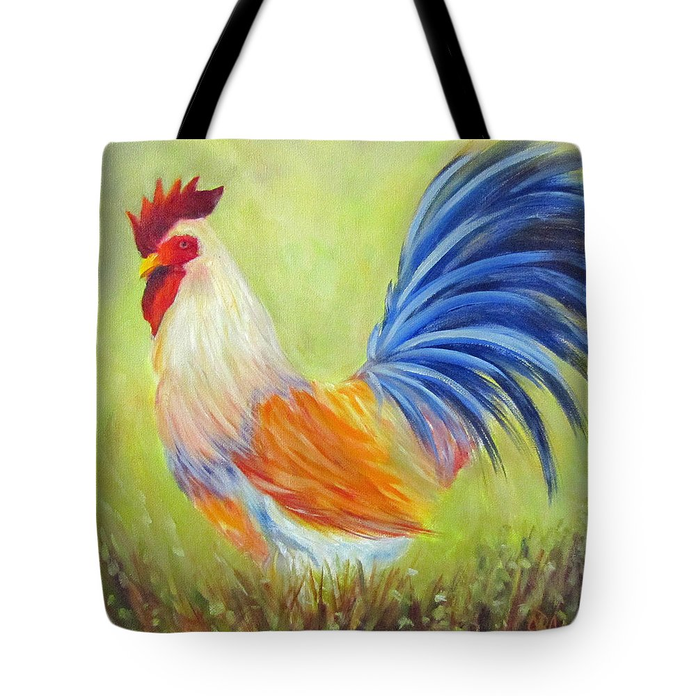Rooster Tote Bag featuring the painting Strutting My Stuff, Rooster by Sandra Reeves