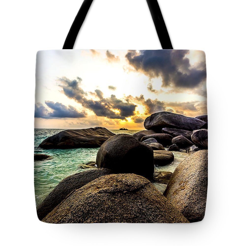 Beach Tote Bag featuring the photograph Sun Sand Sea And Rocks by Jijo George
