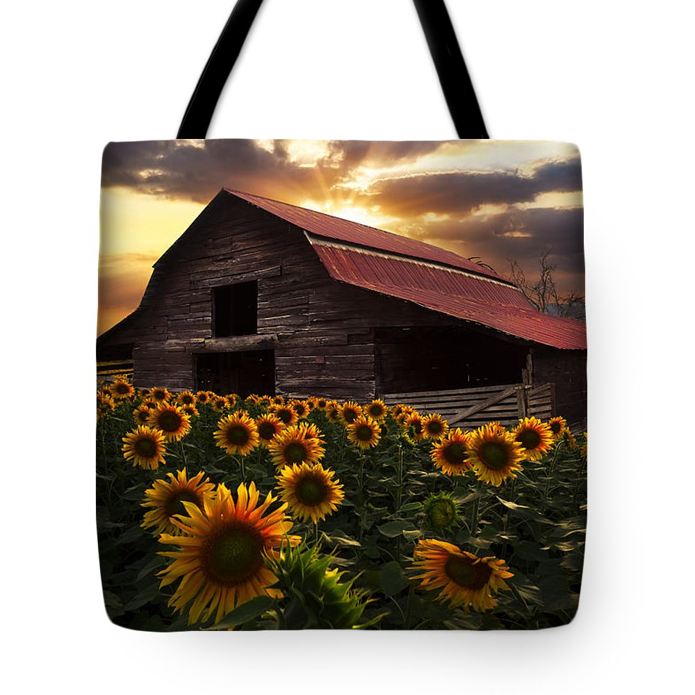 Appalachia Tote Bag featuring the photograph Sunflower Farm 2 by Debra and Dave Vanderlaan