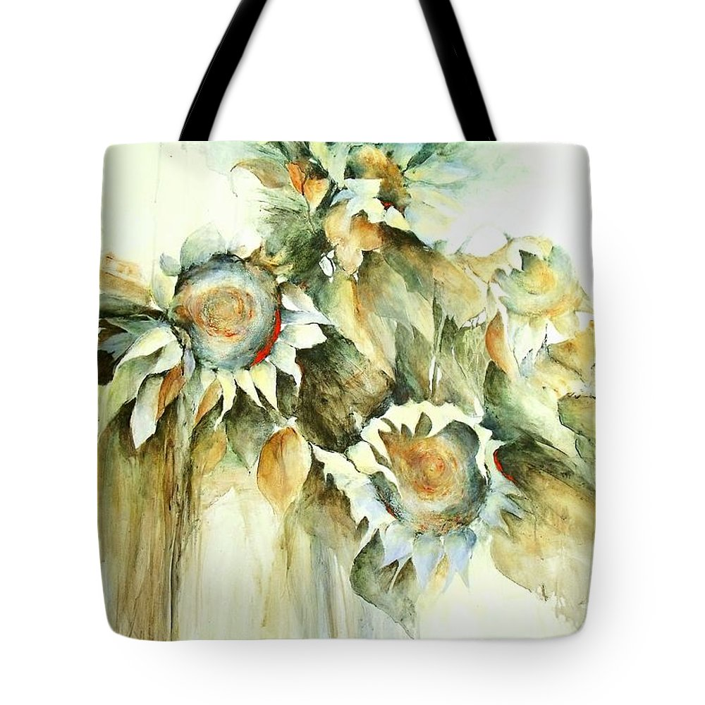 Sunflower Painting Tote Bag featuring the painting Sunflowers V by Madeleine Holzberg