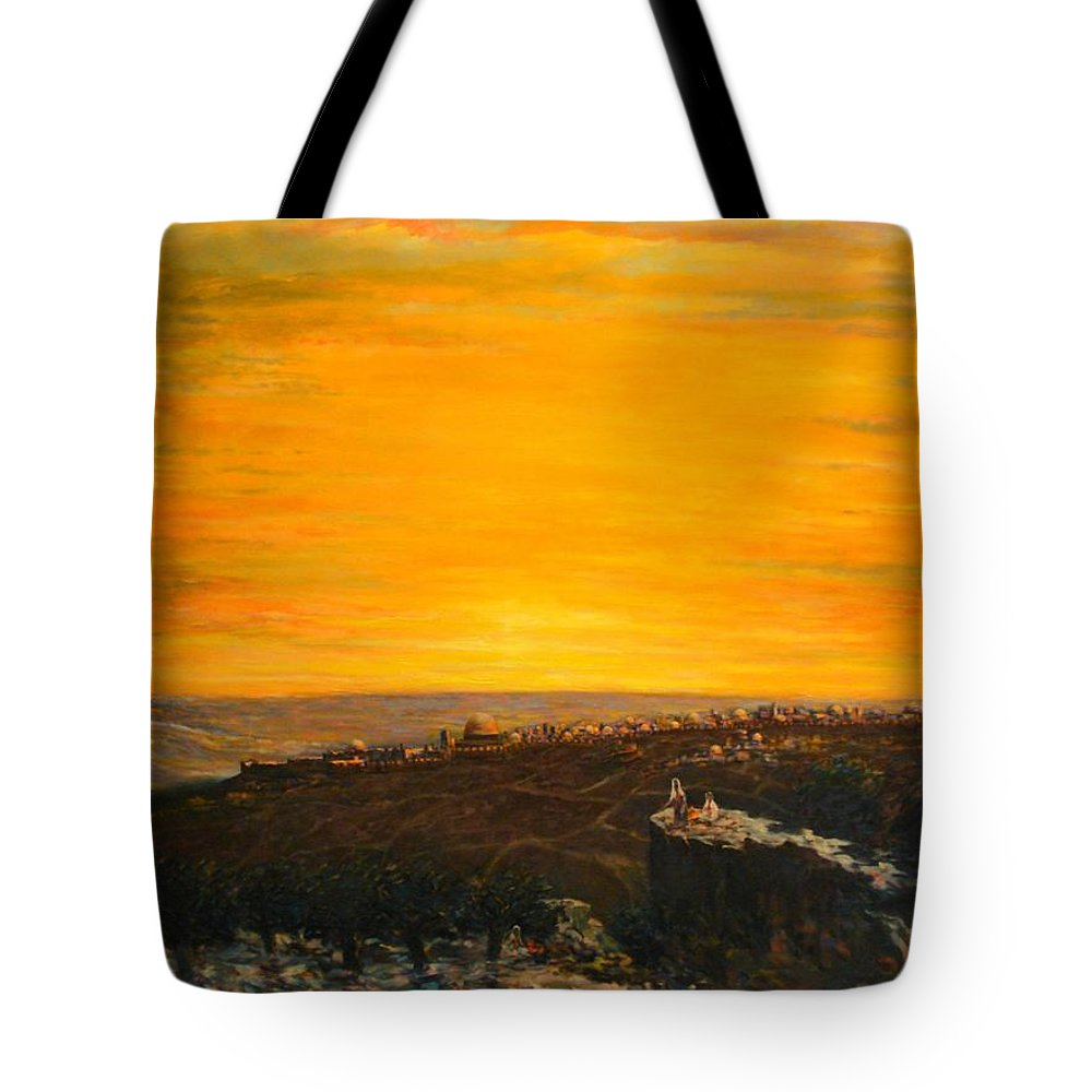 Landscape Depicting A Beautiful Sunset With Jerusalem City In The Horizon Tote Bag featuring the painting sunset over Jerusalem by Adel Sansur