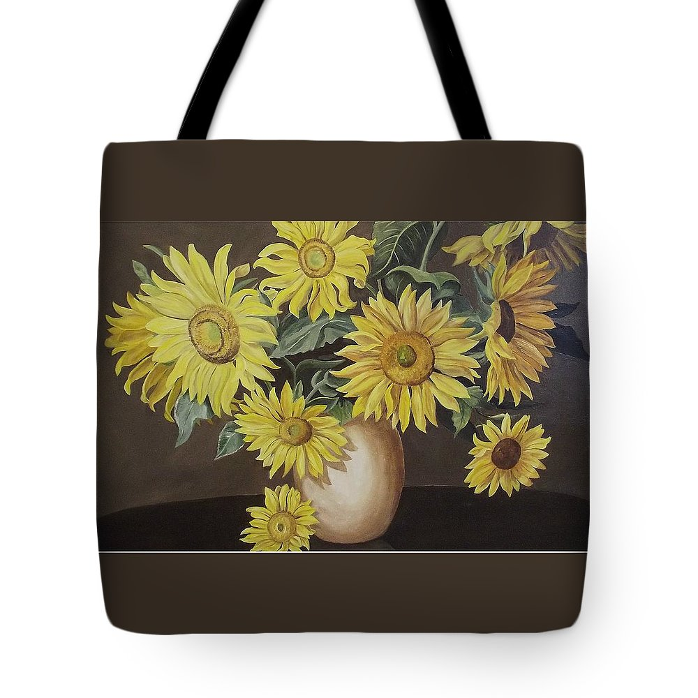 Flowers Tote Bag featuring the painting Sunshine And Sunflowers by Wanda Dansereau