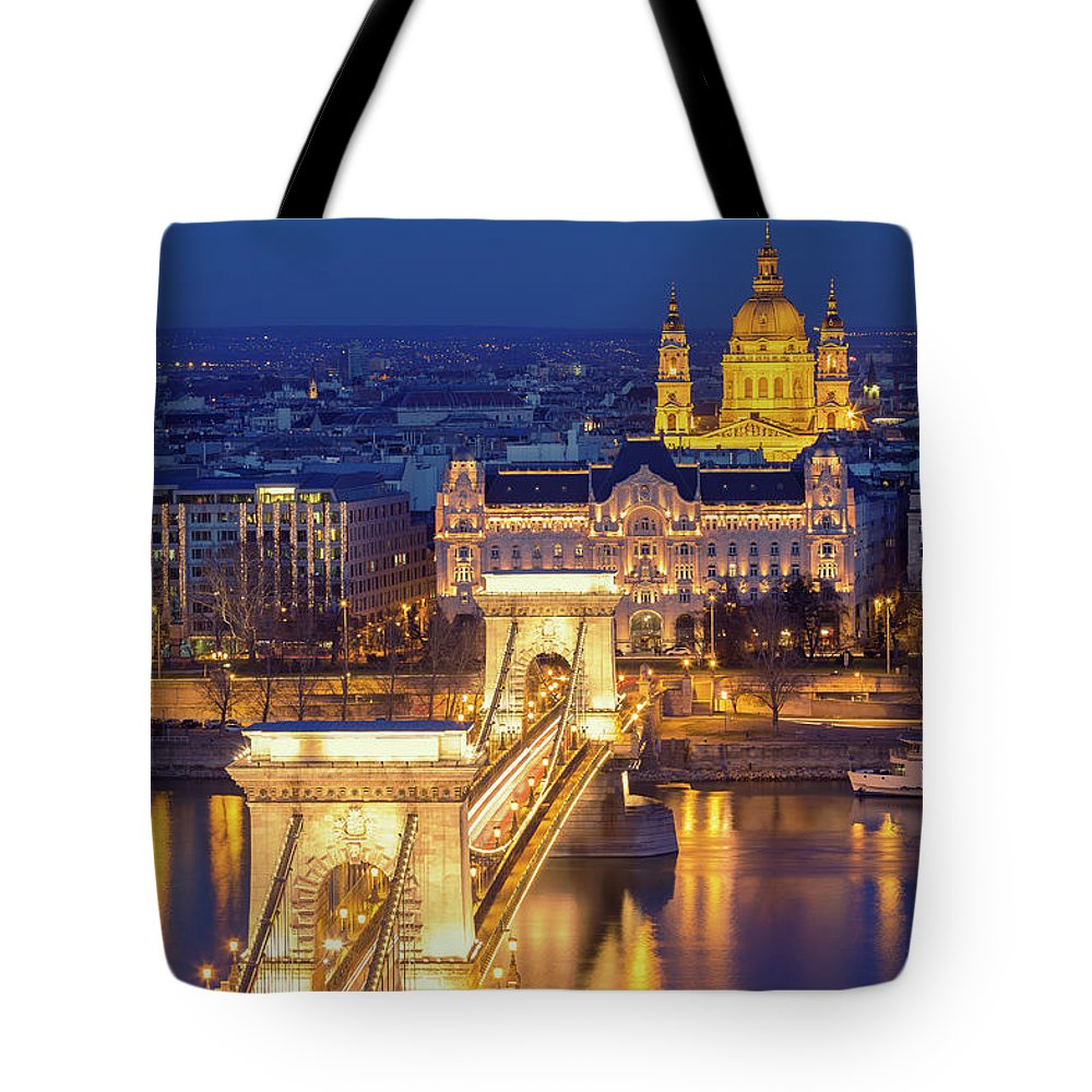 Viewpoint Tote Bag featuring the photograph The Chain Bridge In Budapest by Ultraforma