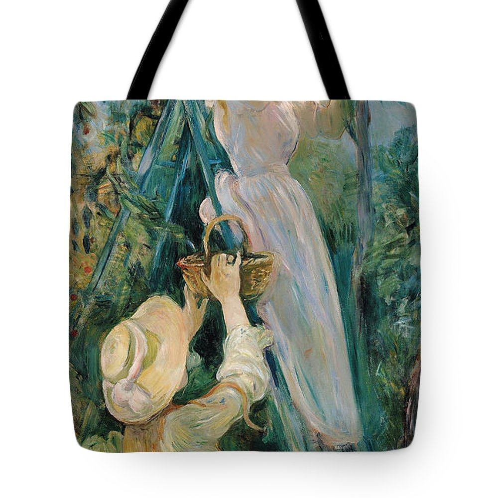 Impressionist; Ladder; Basket; Picking; Cherries; Fruit Tree; Girl; Female; Hat; Friend Tote Bag featuring the painting The Cherry Picker by Berthe Morisot