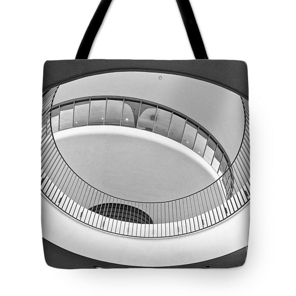 Encounter Tote Bag featuring the photograph The Encounter Restaurant At Lax From Below Los Angeles International Airport. by Jamie Pham