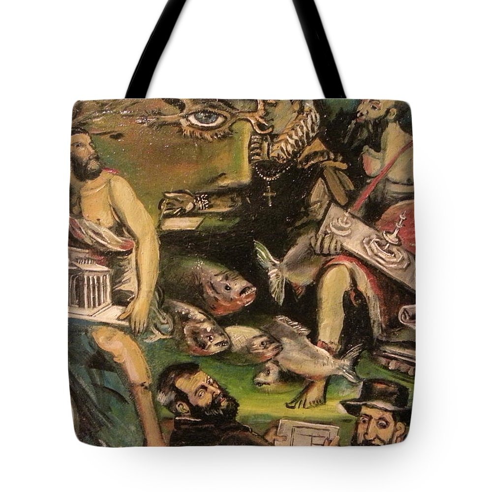 Tote Bag featuring the painting The Great Deluge by Jude Darrien