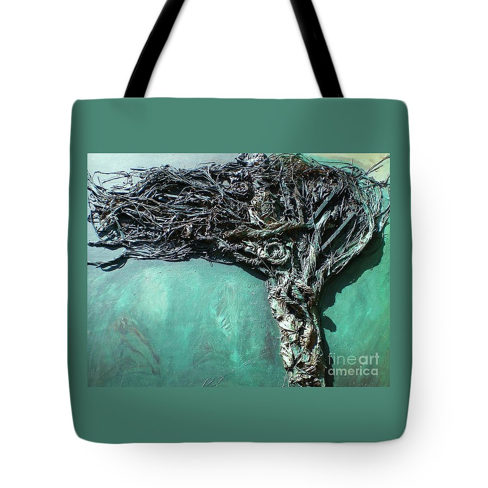 Green Abstract Tote Bag featuring the painting The Greenman by Ann Fellows