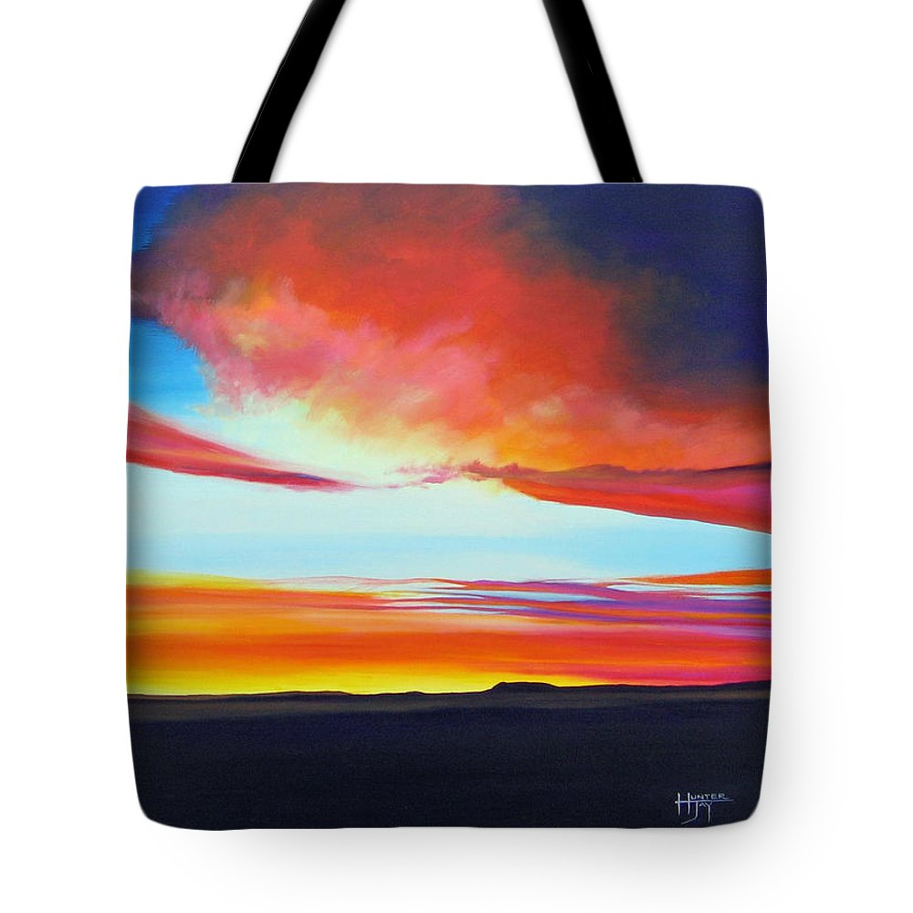 Landscape Tote Bag featuring the painting The Long Way Home by Hunter Jay