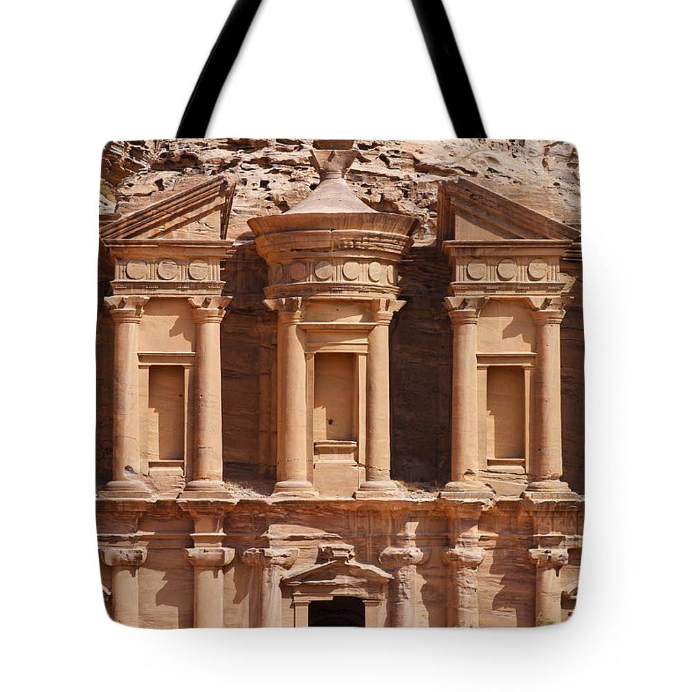 Ad Deir Tote Bag featuring the photograph The Monastery At Petra In Jordan by Robert Preston