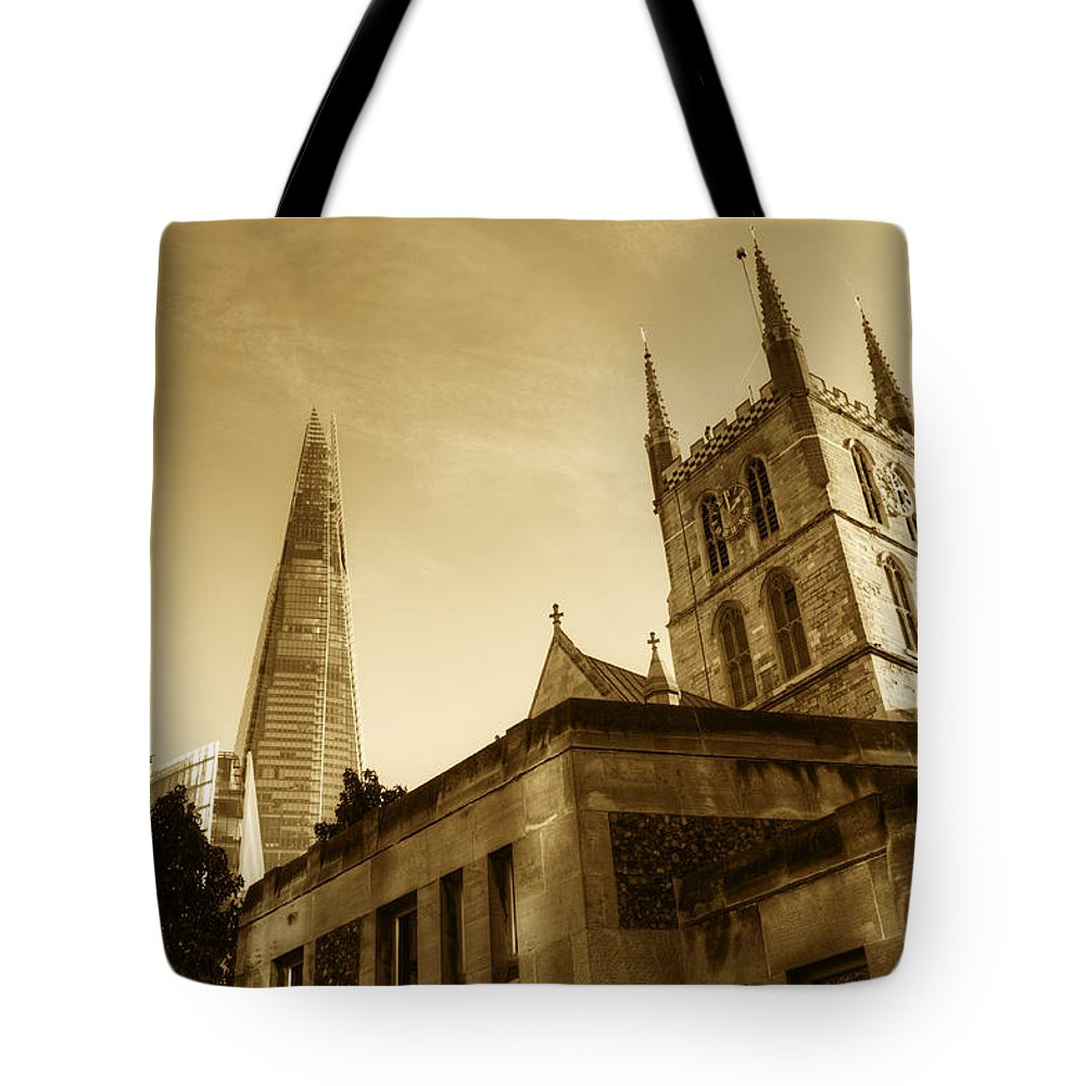 Shard Tote Bag featuring the photograph The Shard and Southwark Cathedral by Chris Day