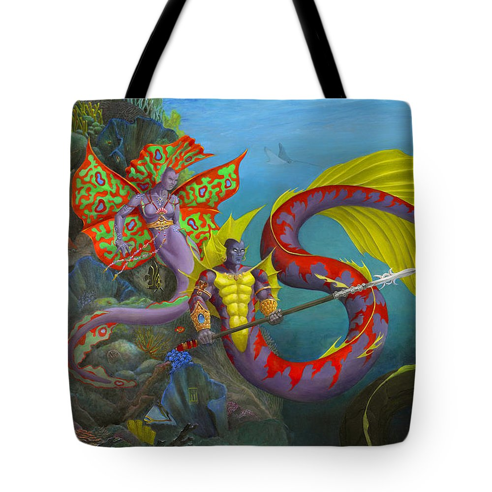 Mermaid Tote Bag featuring the painting The Threat by Melissa A Benson