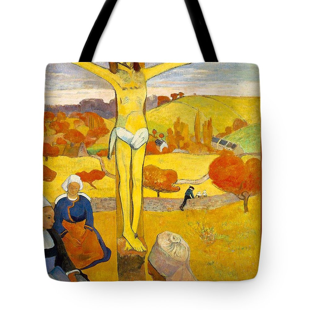 Paul Gauguin Tote Bag featuring the painting The Yellow Christ by Paul Gauguin