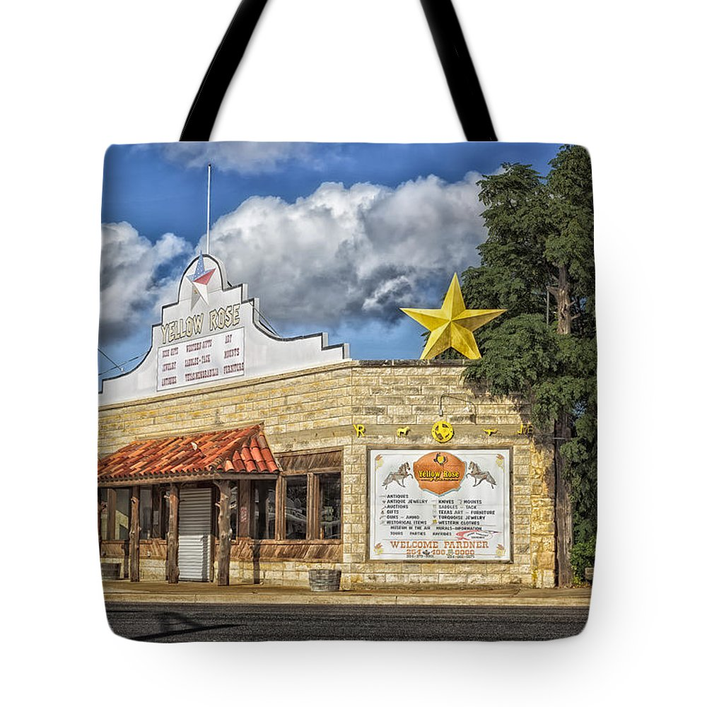 Yellow Rose Tote Bag featuring the photograph The Yellow Rose Of Crawford Texas by Mountain Dreams