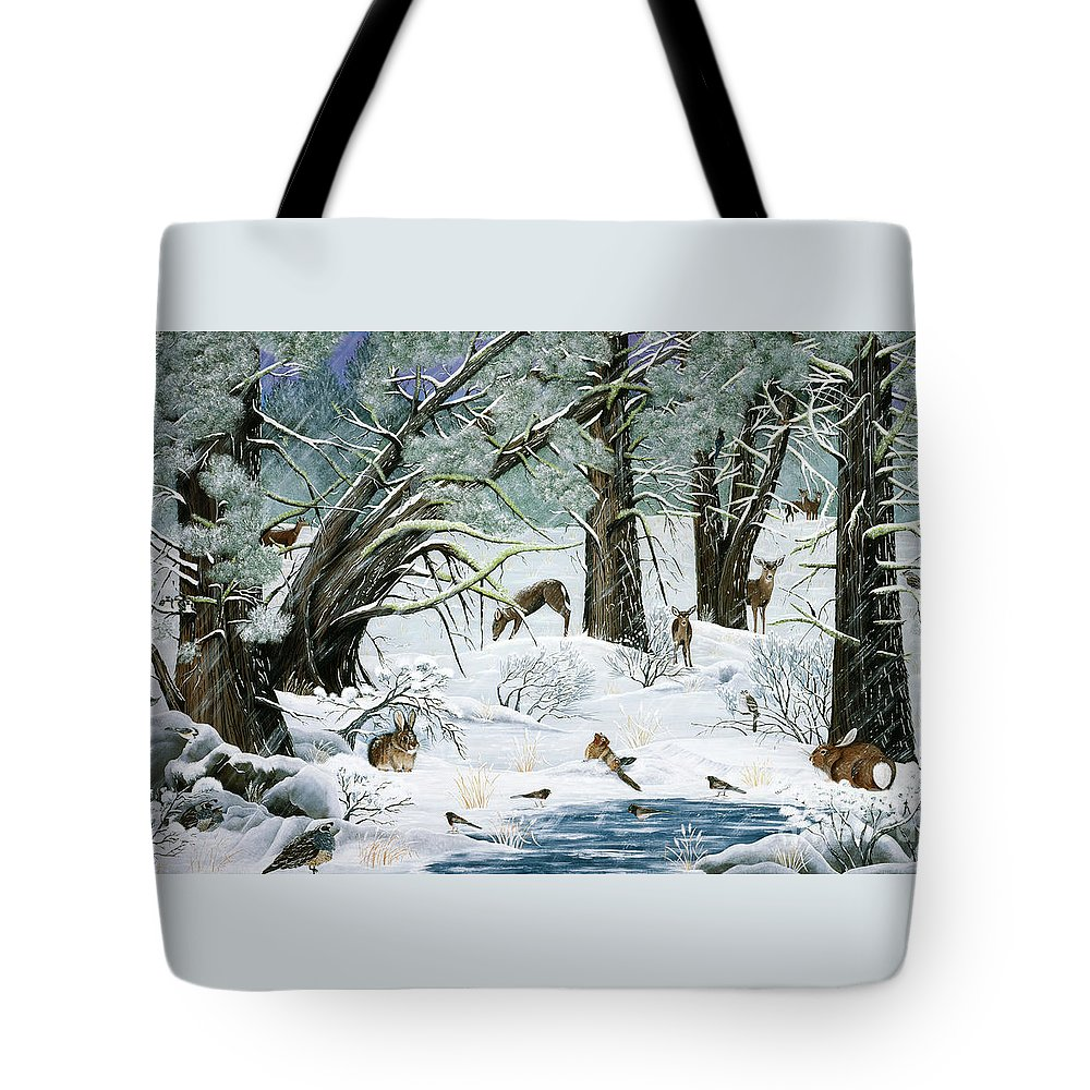 Woods Tote Bag featuring the painting They Said It Wouldn't Snow by Jennifer Lake