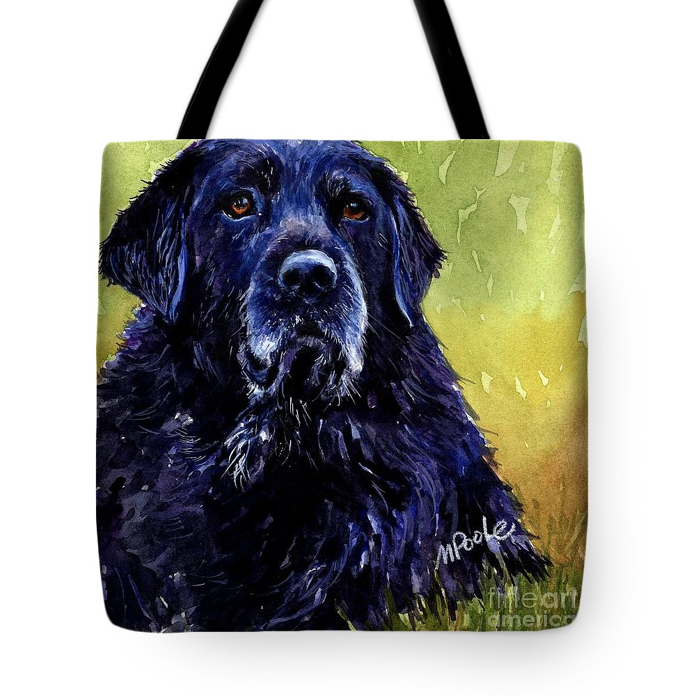 Black Lab Tote Bag featuring the painting This Is Fred by Molly Poole