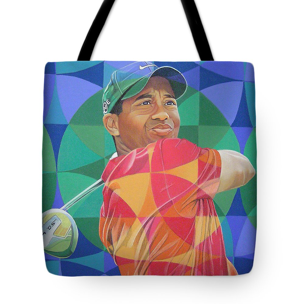 Tiger Woods Tote Bag featuring the drawing Tiger Woods by Joshua Morton