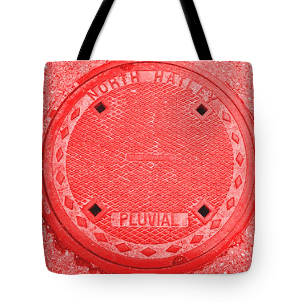 Manhole Tote Bag featuring the photograph Tricolor Manhole by Matthew Naiden