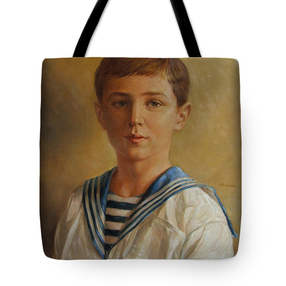 Tsarevich Alexei Tote Bag featuring the painting Tsarevich Alexei Of Russia by George Alexander
