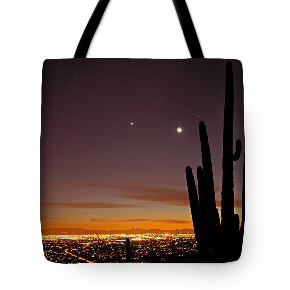 Tucson Tote Bag featuring the photograph Tucson At Dusk by Susan Rovira