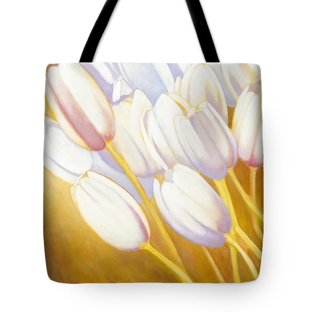 Tote Bag featuring the painting Tulips Are People Xii by Jerome Lawrence