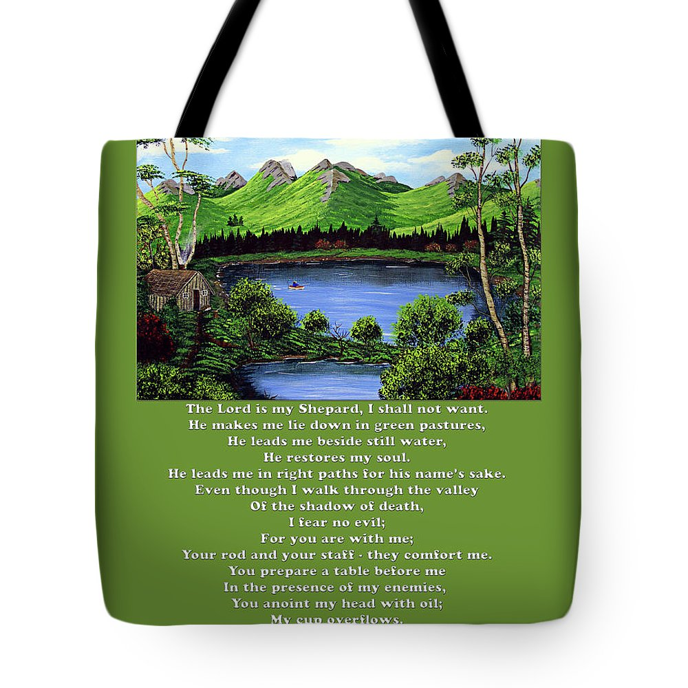 Twenty Third Psalm Tote Bag featuring the painting Twin Ponds And 23 Psalm On Green by Barbara Griffin